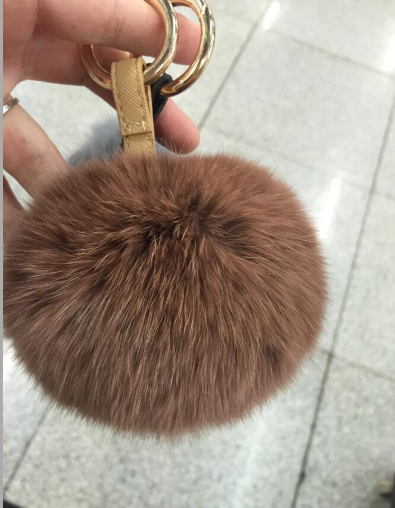 a0c946f837 Coffee Brown Pom poms Real Fur Keychains Fluffy Bag Charm
