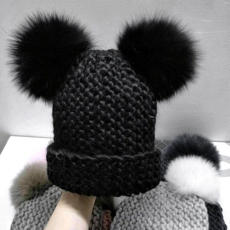6ff72d8b4c526 Rough Knitted Beanies Double Puffs Ball Real Fox Furry Fluffy