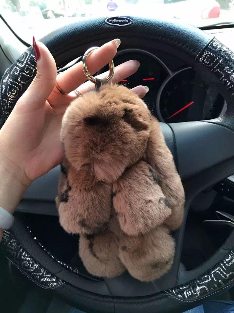 Customize Fluffy Bunny Keychain Cheetah Pattern Cute Bag Charm  4d137c600d74