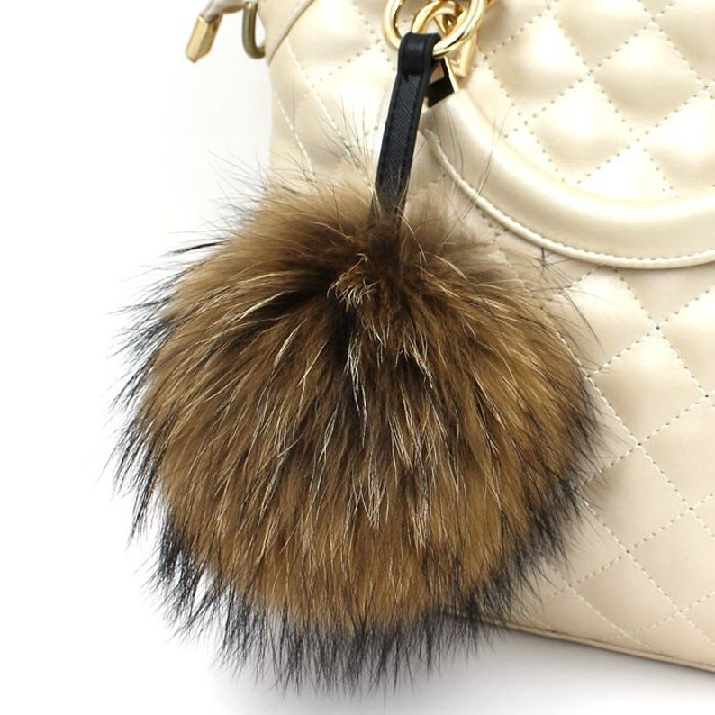 2f8042e6dc Luxury Bag Accessories Handbag Charm Plush Keychain Puffs Fox Fur Ball Key  Chains Car Keys Ring Large pom pom brown fluffy with black fur