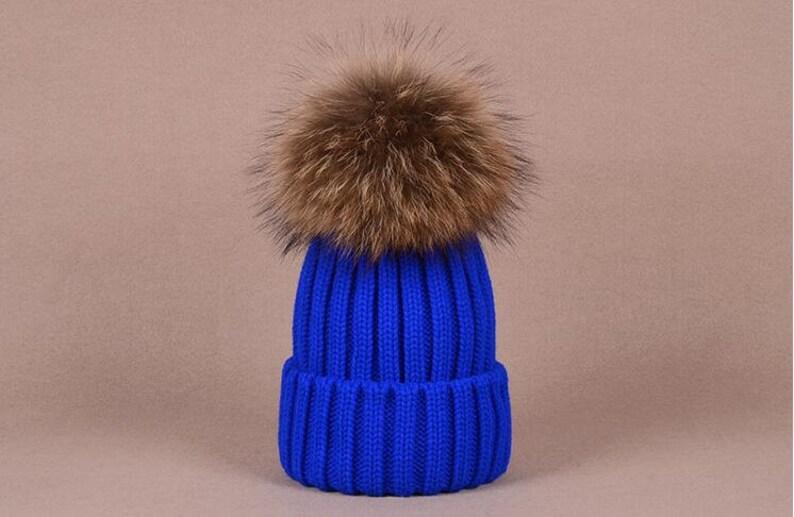 aabdc14e851 Big Fox Fur Balls Hat Fluffy Large Pom Poms Cute Hat Cotton