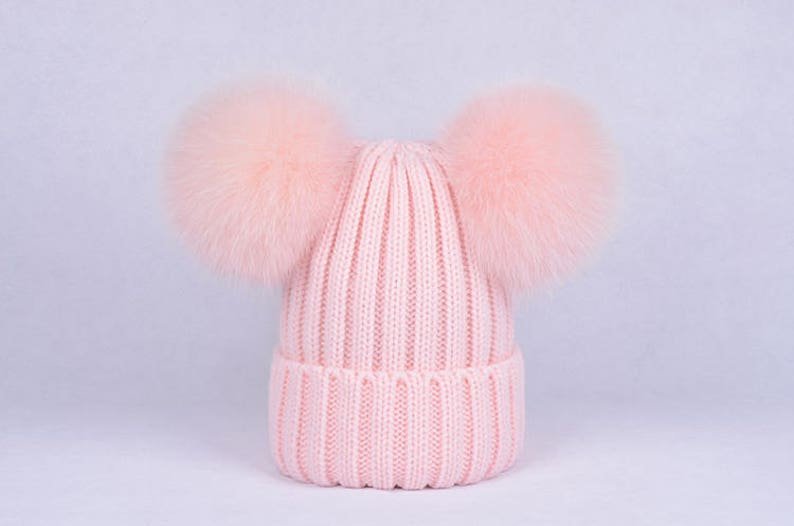 5ca68f7c0 double pom pom hats Custom Children/Adult Hats Knit baby pink Hat with Fox  Puffs Ball Double Pom Poms Beanies Baby Hats