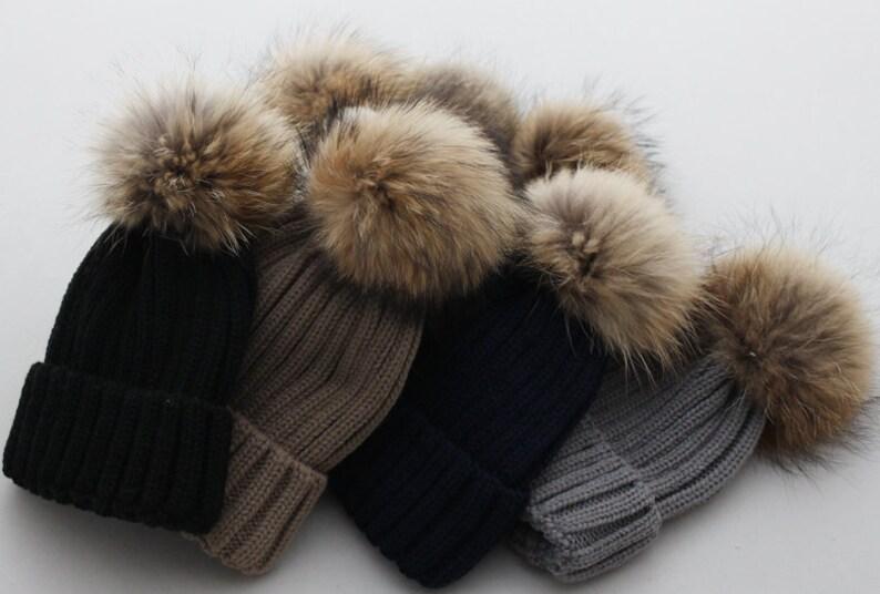 1d2e0b2b013 Cute Female Hats Fluffy Large Pom Poms Fox Fur Hat Cotton