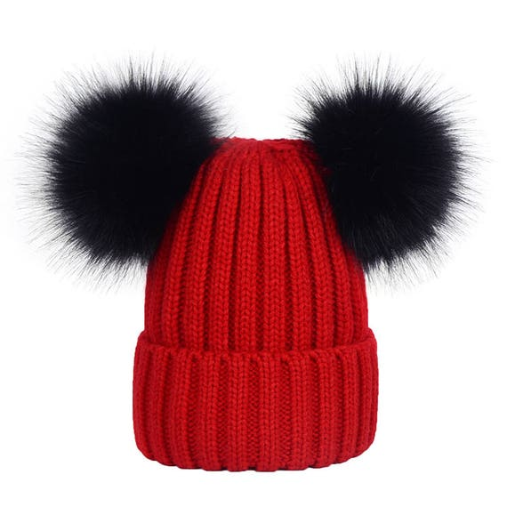 double fur ball hats Custom Children Adult Hats Knit Red Hat  e59015219f5