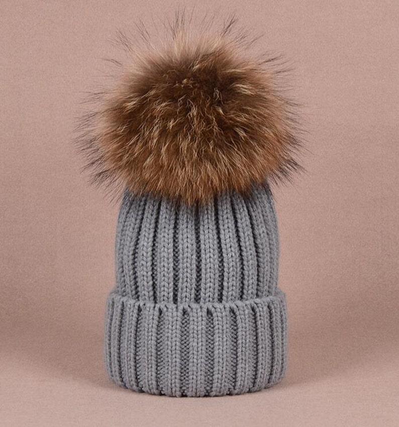 6e80596a7b2 Big Fox Fur Balls Gray Hat Fluffy Large Pom Poms Cute Grey Hat