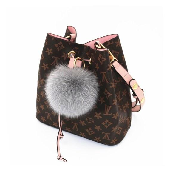 69854d9b597 Light Gray Fox Fur Keychains Genuine pompom Tote charm plush   Etsy