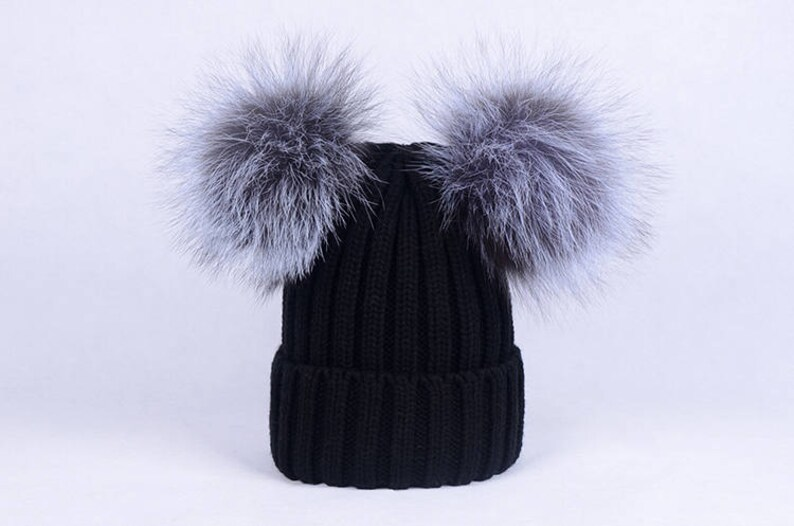 4483acf6359 Fur Beanies Double Puffs Ball silver fox pompoms