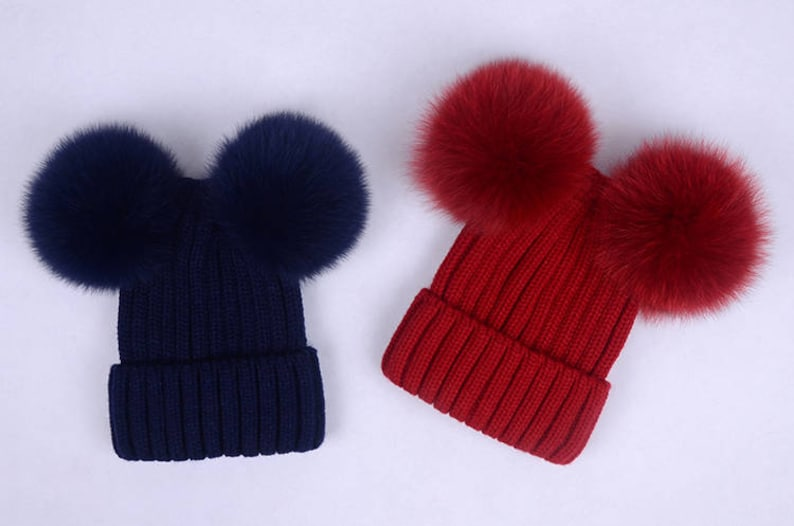 7d45f62110f Double pom pom hats Custom Children Adult Hats Knit Hat with