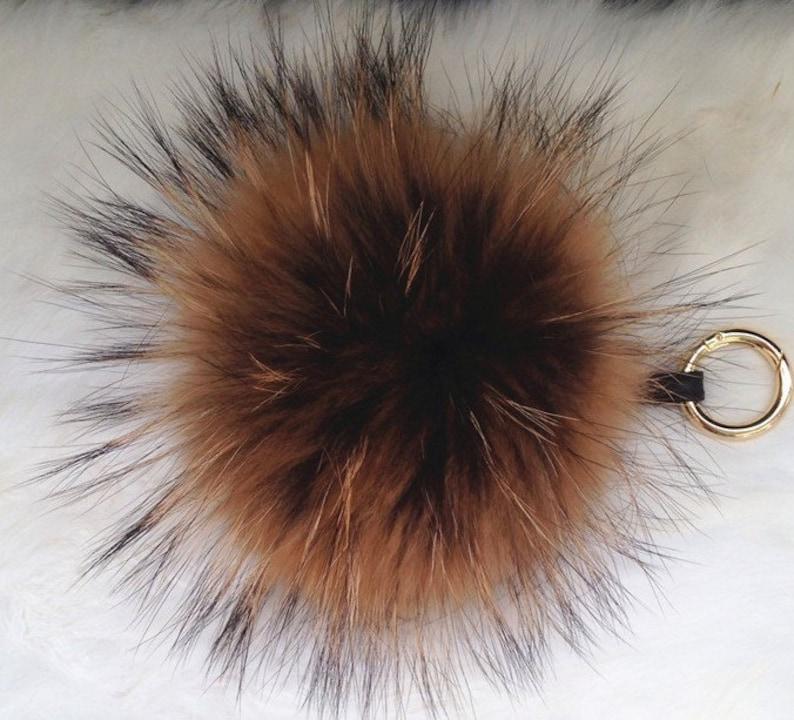 Lusso Furry portachiavi Brown vero visone volpe pelliccia  294f65cfc6e8