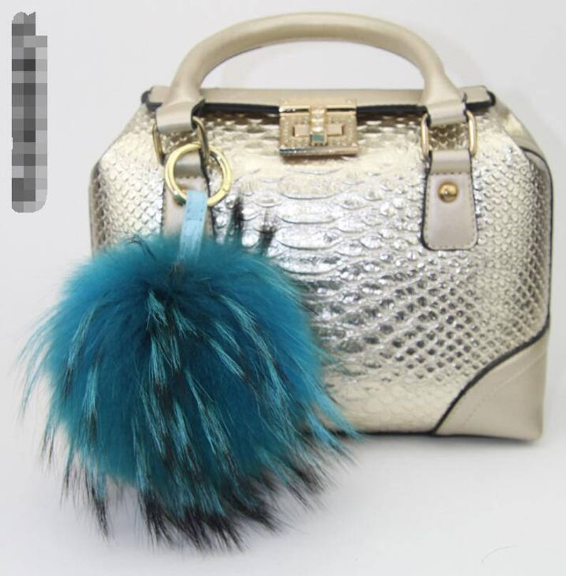 be46d487ea Luxury Furry Keychains-Teal Blue Mink Fox Fur Pom Pom Charms
