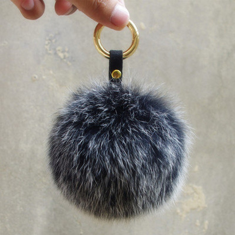 d1a6ae30b2 Snow Grey Fox Fur Keychain Genuine Pompoms puffs ball bag