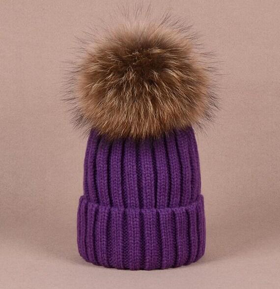 Big Fox Fur Ball Purple Hat Fluffy Large Pom Poms Violet  f7fb55857a8