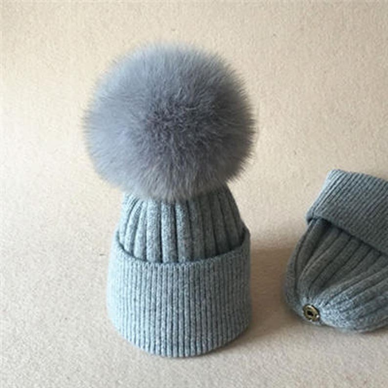 da54639cd08 Gray Puffs Wool Hat Grey Pom Poms Real Fox Puffs Custom Baby