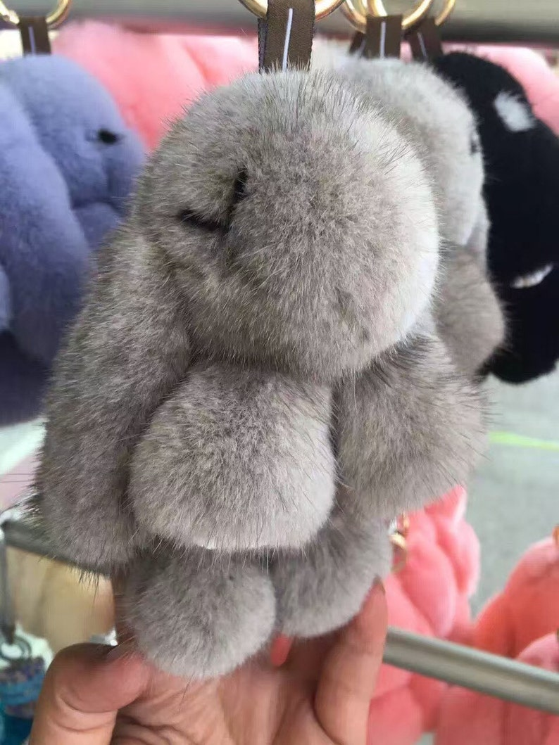 Grey Pompom Bunny Dolls handbag charm Women Fashion Bag Charm  4310f52fd