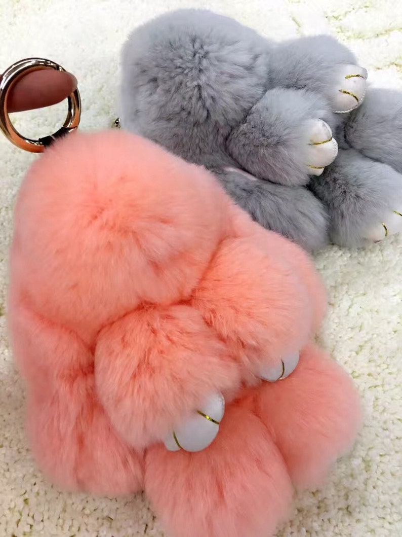 3ca3f5ba29eb Real Fur Bunny Keychains Peach Pink Pompom Rabbit Key chains