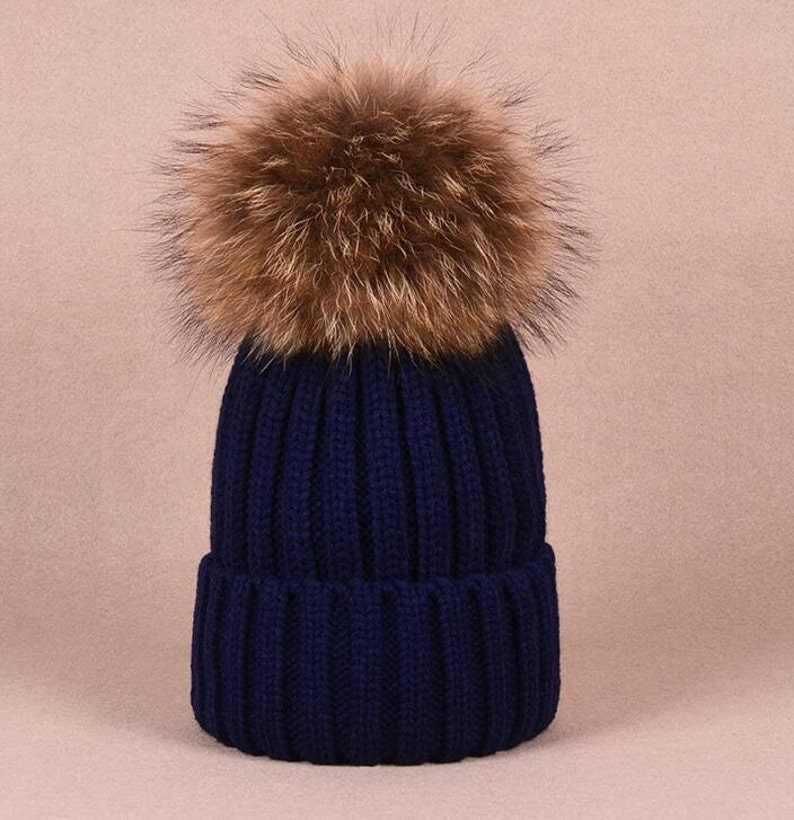 68892ec7cc0310 Puffs Pom Pom Hat Fox Furry Cotton Hats Brown Large Big Real | Etsy