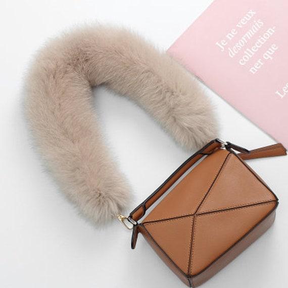 Mink Fur Pom Pom Fur Hand Bag Strap Leather Strap Real Leather Real Fur Bag Straps