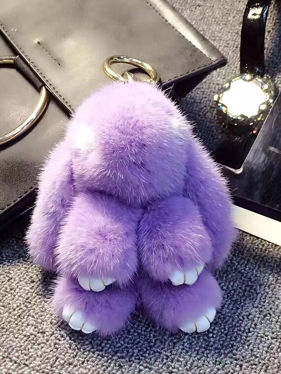 727e980915 Mink Bunny Keychains Luxury Bag Charm Fluffy Pom poms Bunny