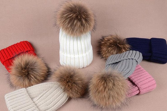 Furry Ball Hats Fluffy Large Pom Poms Fox Fur Hat Cotton Women  1b2eabc8f96