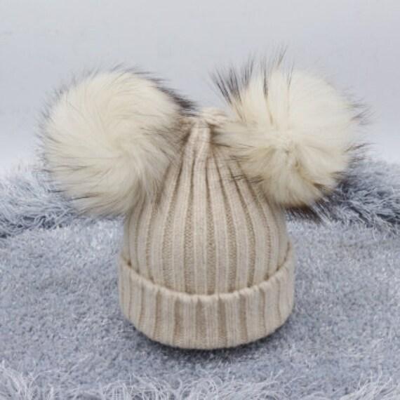 Beige Wool Cotton Women hats baby children hats pom pom puffs  b6ae58908