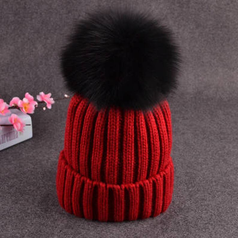 9eceac89973 Black Pom Pom Hats Fluffy Large Puffs Women Red Wool Cotton