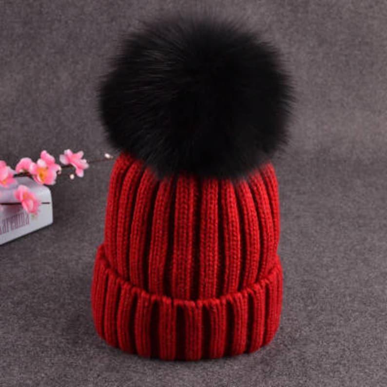 5e59aca2410 Black Pom Pom Hats Fluffy Large Puffs Women Red Wool Cotton