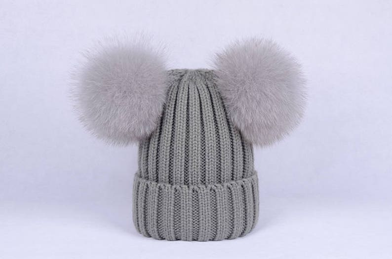 Double poms hats Custom Children Adult Hats Knit Gray Hat with  3bb8c43aff90