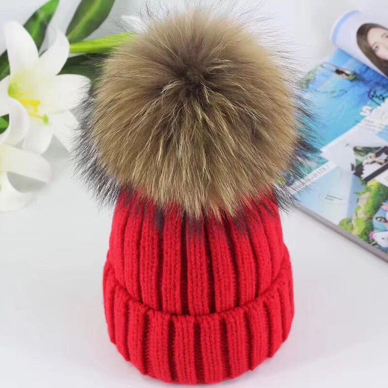 06096778aa8 Cute Women Hats Fluffy Large Pom Poms Fox Fuzzy Hat Cotton Hat