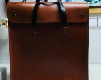 Laptop bag, leather satchel, messenger bag for men or women, briefcase iPad, carmel