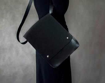 black bag black shoulder bag Handbags Messenger Bags minimalist bag leather handbag