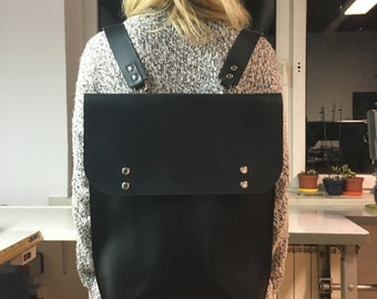 Black leather backpack, leather backpack, school bag, shoulder bag, leather laptop bag, laptop backpack, Leather vegetable tanned