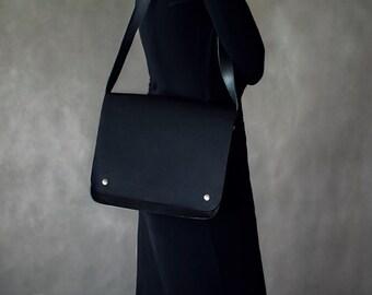 black bag, black shoulder bag, Handbags, minimalist bag,  leather handbag, Black