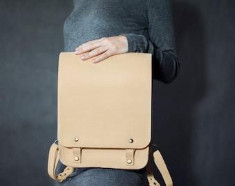 Size L, Big leather backpack, hand made backpack, rucksack, bookbag, vegetable tanned leather