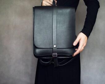 Size S, Black Leather backpack, hand made backpack, rucksack, bookbag, vegetable tanned leather