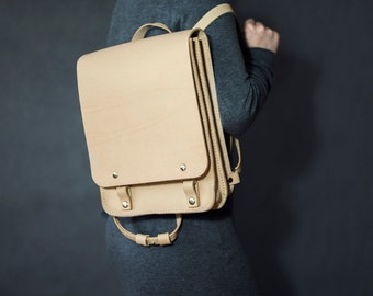 Leather backpack, hand made backpack, rucksack, bookbag, vegetable tanned leather