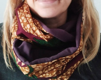 Double turn circular scarf, endless scarf wax fabric/ African fabric infinity scarf, snood