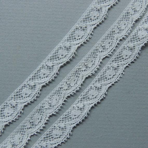 5 yds Vintage Spitze Kanten weiße Baumwolle Spitze