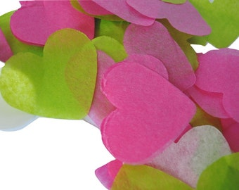 Pink Green ivory heart confetti - stain not - 20 handles (handmade)