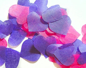 Purple pink heart confetti - stain not - 25 handles (handmade)
