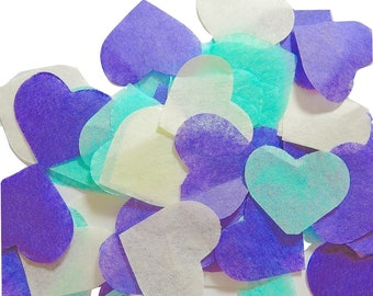 Purple blue heart confetti - light ivory spot No - 20 handles (handmade)