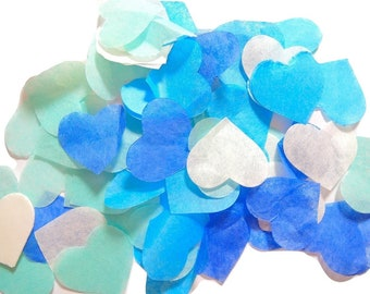 Blue Turquoise ivory heart confetti - stain not - 20 handles (handmade)