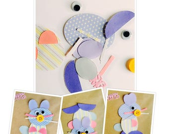 Make your own Easter Card Kits. Easter Bunny Craft Activity for kids. Handmade Easter Card Kit. Kids Easter Activity. DIY Greetings Card.