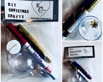 Christmas Tree Decorations, DIY Baubles, make your own tree decoration, Christmas Eve Box craft activity for Kids.