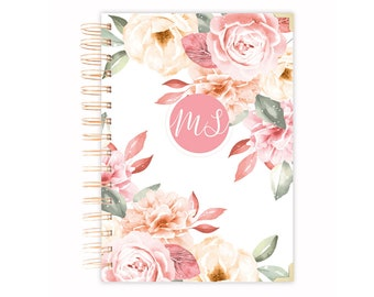 Lined Notebook with Beautiful Rose Illustration on Blue Cover Personalized Name Journal Leanne