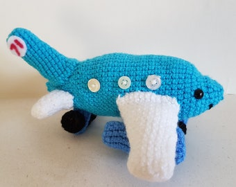 New Crocheted Blue White Plane Toy Knitted Plane Children's Toy Knitted Vehicle Blue Plane Plush Vehicle Amigurumi Birthday Present For Kids