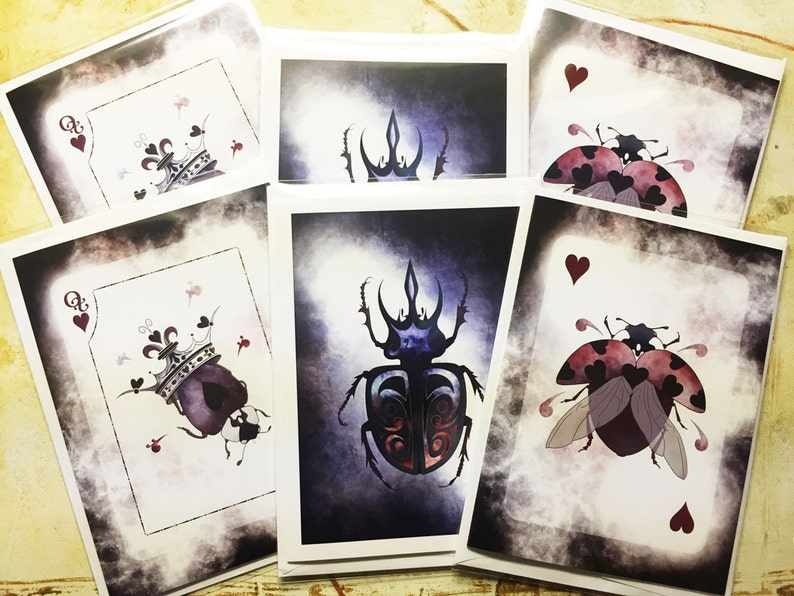 Double Set 6 Blank Greeting Cards featuring Beetles from the image 0