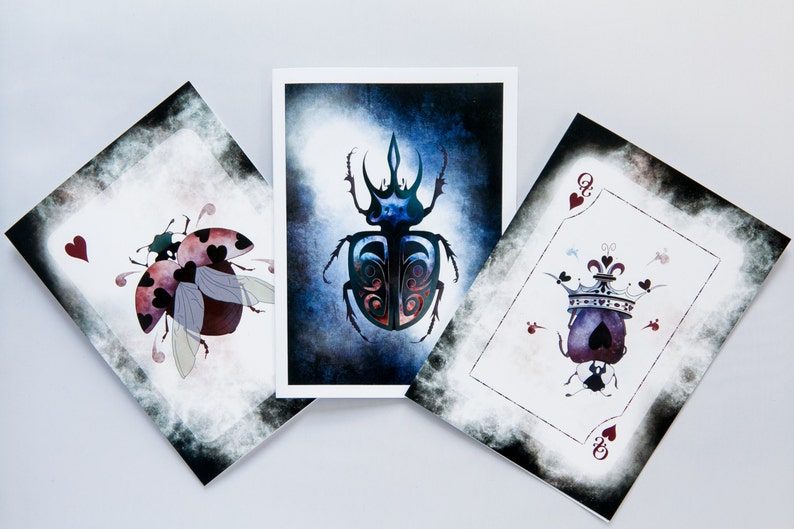 Set of 3 Blank Greeting Cards featuring Beetles from the image 0