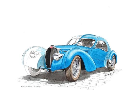 BUGATTI 57SC Atlantic original colección de acuarela sin coche
