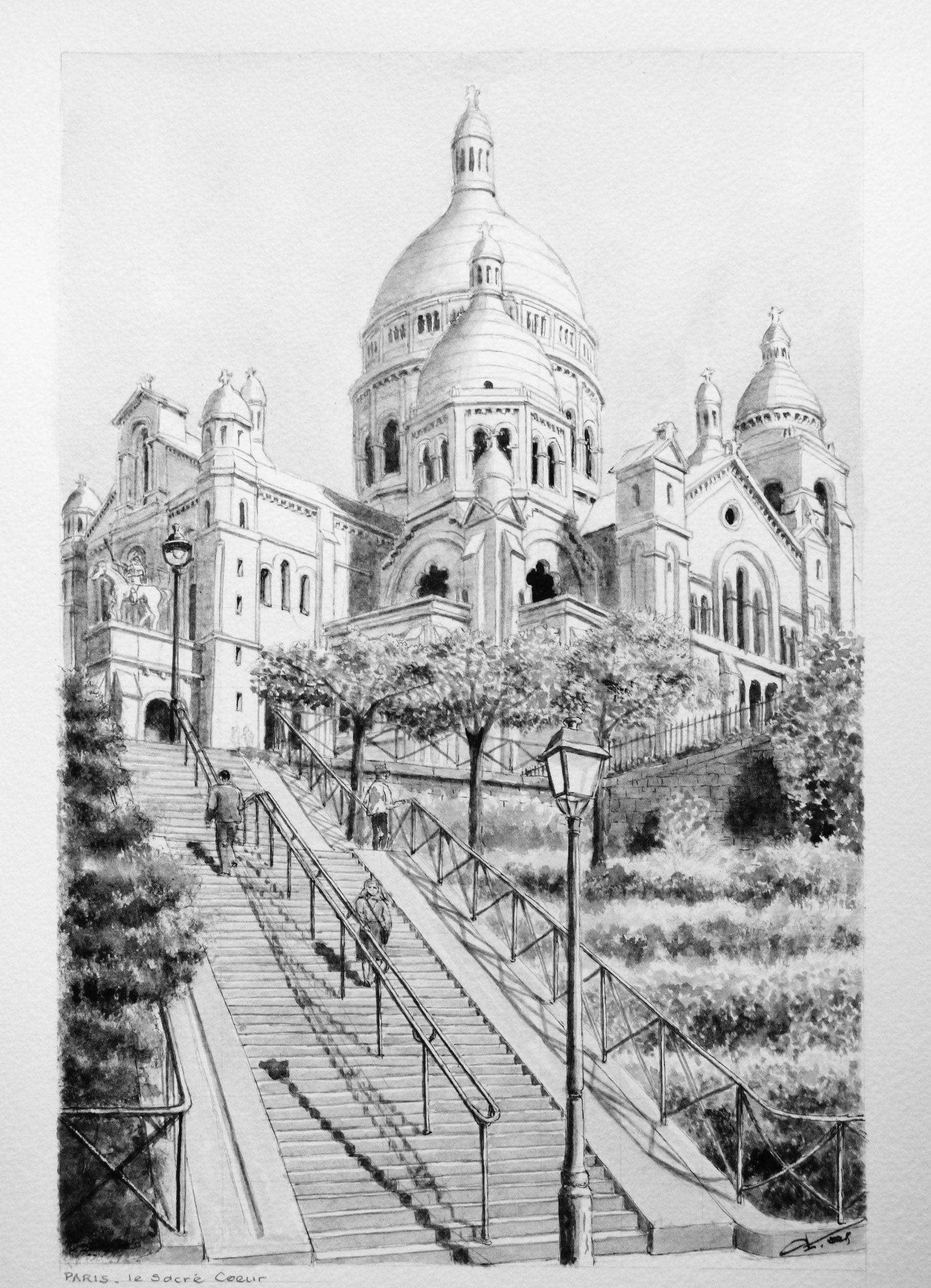 Dessin de paris le sacr coeur monument de paris dessin etsy - Coloriage professionnel ...