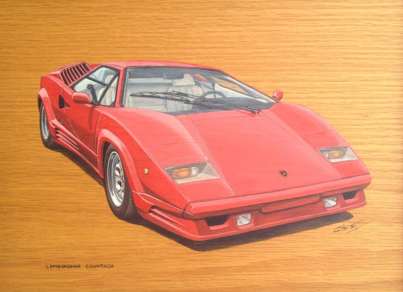 Lamborghini Countach Original Painting Gouache On Oak Wood Etsy